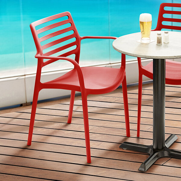 Lancaster Table & Seating Allegro Red Stackable Resin Arm Chair Main Image 5