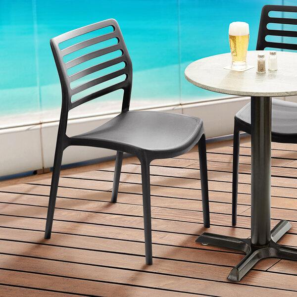 Lancaster Table & Seating Allegro Black Resin Side Chair Main Image 5