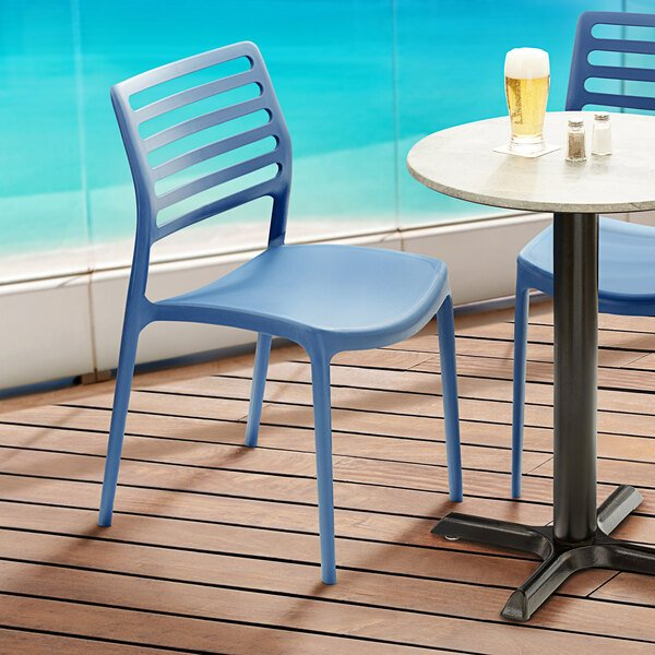 Lancaster Table & Seating Allegro Blue Resin Side Chair Main Image 5