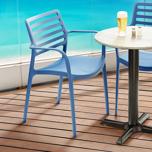Lancaster Table & Seating Allegro Blue Stackable Resin Arm Chair Main Image 5