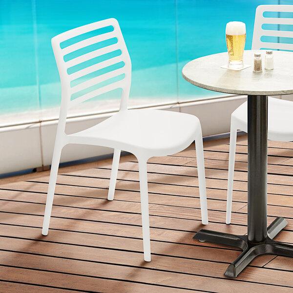 Lancaster Table & Seating Allegro White Resin Side Chair Main Image 5
