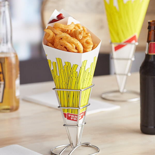 Carnival King 15 oz. Square French Fries Cardboard Fry Cone - 500/Case Main Image 3