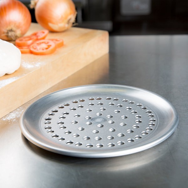 "American Metalcraft SPHACTP8 8"" Super Perforated Heavy Weight Aluminum Coupe Pizza Pan Main Image 4"