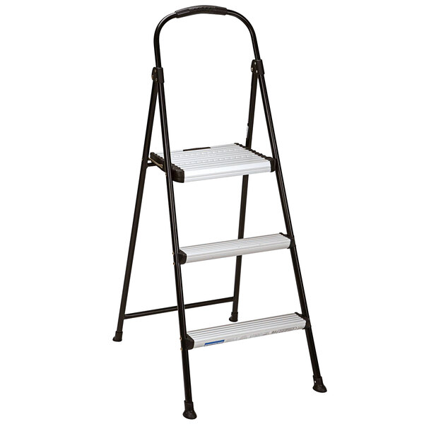 Cosco 11425ABK1E Silver / Black 3-Step Folding Step Stool with Rubber Hand Grip Main Image 1