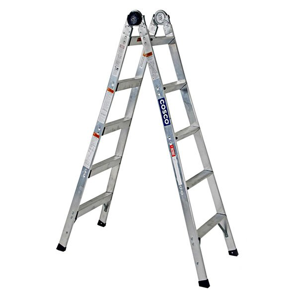 Cosco 20210T1ASE 2-in-1 Aluminum 14' Max Reach 10-Step Multi-Position Step and Extension Ladder Main Image 1