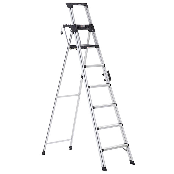 Cosco 2081AABLD Signature Series Aluminum 6-Step Ladder with Work Platform Main Image 1