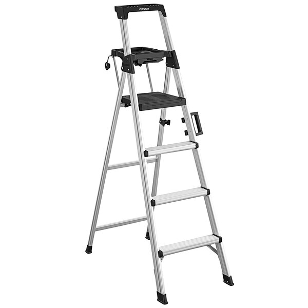 Cosco 2061AABLKE Signature Series Aluminum 4-Step Ladder with Work Platform Main Image 1