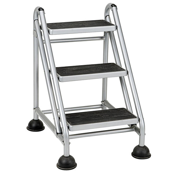 Cosco 11834GGB1 3-Step Commercial Rolling Step Ladder Main Image 1