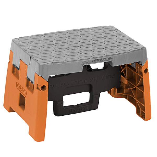Cosco 11903BGO1E 1-Step Black, Orange, and Gray Molded Folding Step Stool Main Image 1