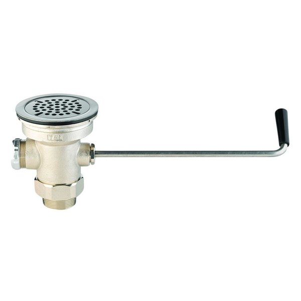 "T&S B-3952-VR Twist Waste Valve with Vandal Resistant Strainer - 3 1/2"" Sink Opening Main Image 1"