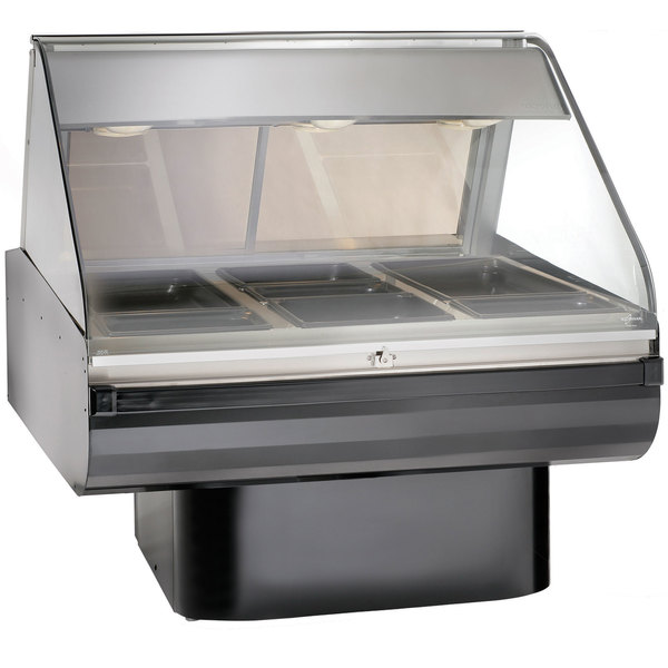 "Alto-Shaam PD2SYS-48 BK Black Heated Display Case with Curved Glass and Pedestal Base - Full Service 48"" Main Image 1"