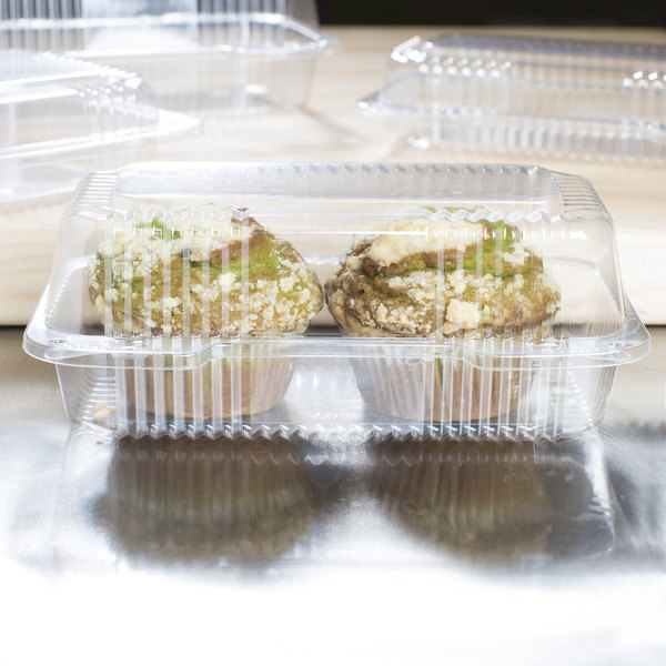 """Dart C35UT1 StayLock 9"""" x 5 3/8"""" x 3 1/2"""" Clear Hinged Plastic 9"""" Medium Oblong Container - 250/Case"""
