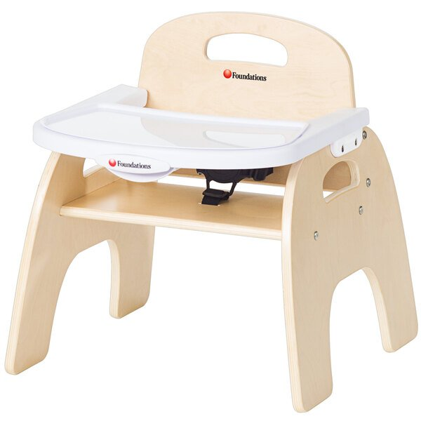 """Foundations 4709047 Easy Serve 9"""" Natural Wood Feeding Chair with EasyClean Adjustable Tray Main Image 1"""
