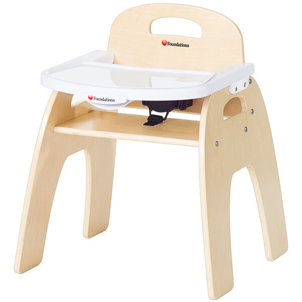 """Foundations 4703047 Easy Serve 13"""" Natural Wood Feeding Chair with EasyClean Adjustable Tray Main Image 1"""