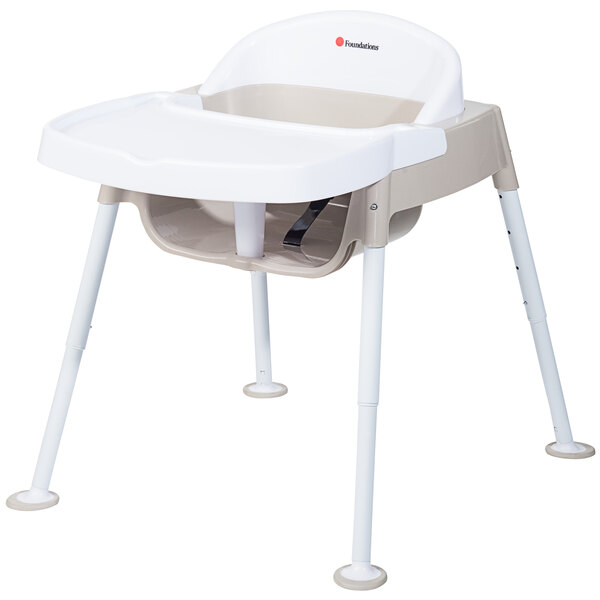 """Foundations 4600247 Secure Sitter Premier 7""""-13"""" White / Tan Height Adjustable Feeding Chair with Non-Slip Feet Main Image 1"""