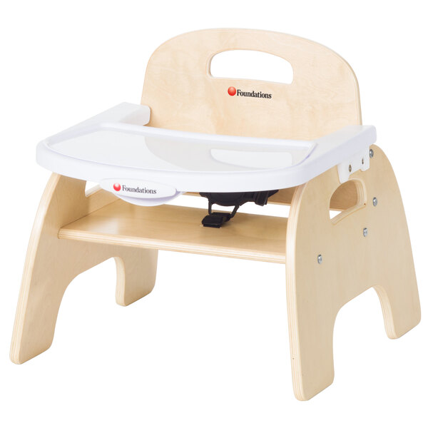 """Foundations 4707047 Easy Serve 7"""" Natural Wood Feeding Chair with EasyClean Adjustable Tray Main Image 1"""