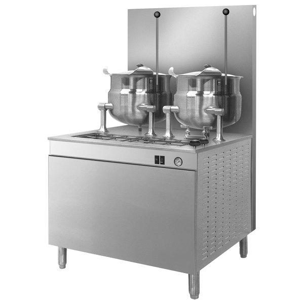 Cleveland 36-GM-K66-300 Liquid Propane (2) 6 Gallon Tilting 2/3 Steam Jacketed Kettles with Modular Generator Base - 300,000 BTU
