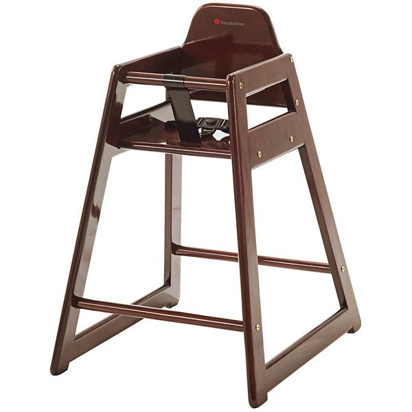 Foundations 4522856 NeatSeat Stackable Hardwood High Chair with Antique Cherry Finish - Unassembled Main Image 1