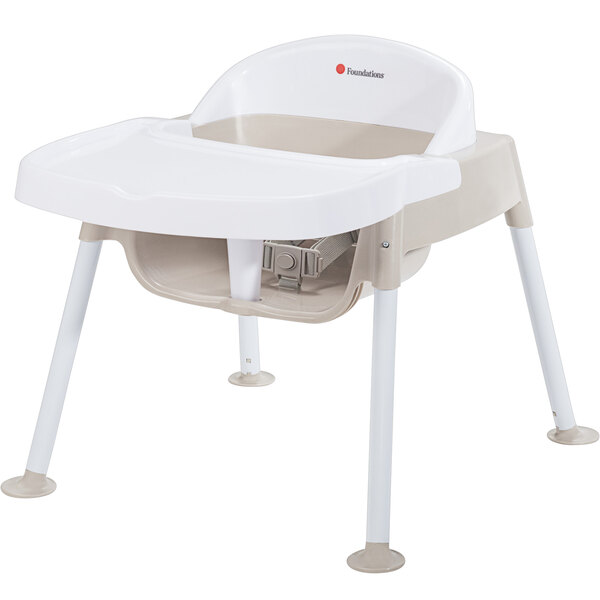 """Foundations 4609247 Secure Sitter 9"""" White / Tan Feeding Chair with Non-Slip Feet Main Image 1"""