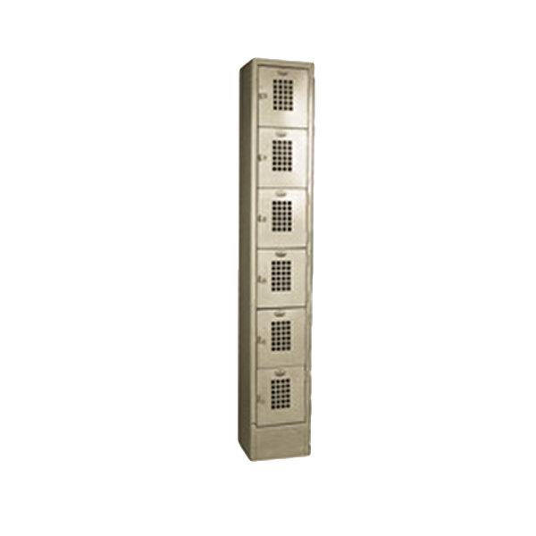 """Winholt WL-66/15 Single Column Six Door Steel Locker with Perforated Doors - 12"""" x 15"""" x 78"""" Main Image 1"""