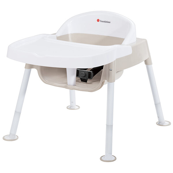 """Foundations 4630247 Secure Sitter Premier 7""""-13"""" White / Tan Height Adjustable Feeding Chair with Non-Slip Feet Set - 3/Pack Main Image 1"""