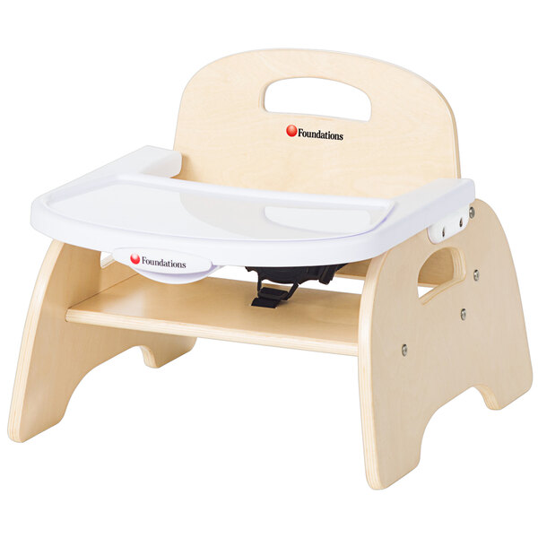 """Foundations 4705047 Easy Serve 5"""" Natural Wood Feeding Chair with EasyClean Adjustable Tray Main Image 1"""