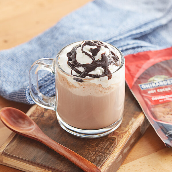 Ghirardelli 0.85 oz. Double Chocolate Hot Cocoa Mix Packet - 250/Case Main Image 2