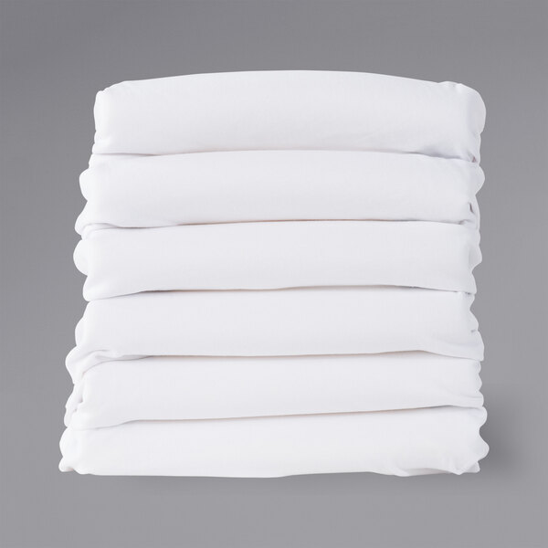"Foundations ZS-F5-WH-06 SafeFit 52"" x 28"" x 6"" White 100% Cotton Knit Zipper Fitted Sheets for 4""-6"" Full Size Crib Mattresses - 6/Pack Main Image 1"