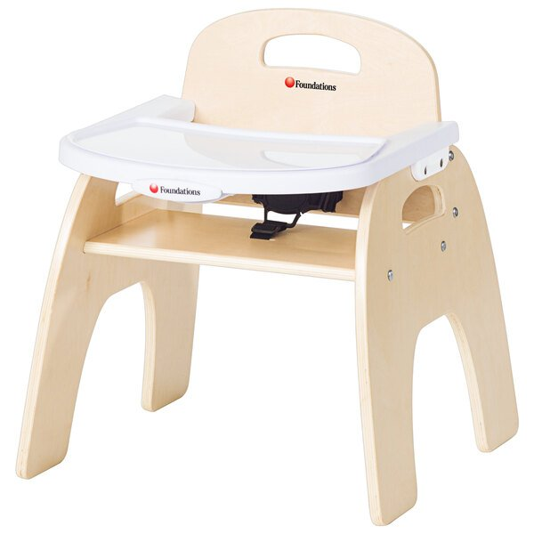 """Foundations 4701047 Easy Serve 11"""" Natural Wood Feeding Chair with EasyClean Adjustable Tray Main Image 1"""