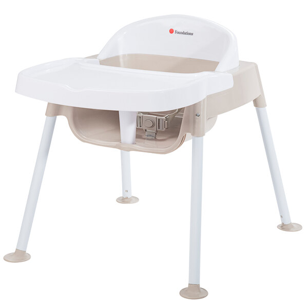 """Foundations 4601247 Secure Sitter 11"""" White / Tan Feeding Chair with Non-Slip Feet Main Image 1"""