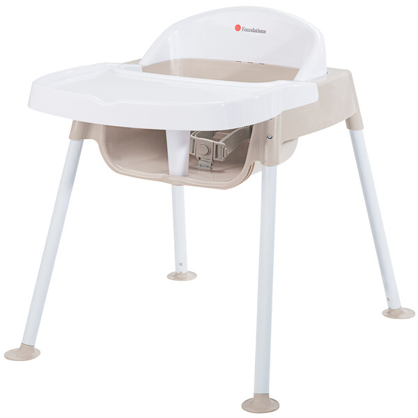 """Foundations 4603247 Secure Sitter 13"""" White / Tan Feeding Chair with Non-Slip Feet Main Image 1"""