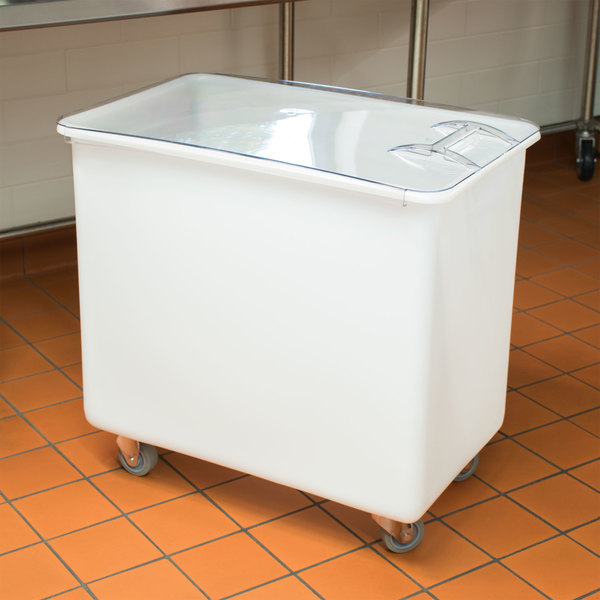 Cambro IB44148 42.5 Gallon / 680 Cup White Flat Top Mobile Ingredient Storage Bin with Sliding Lid Main Image 2