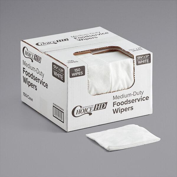 ChoiceHD 13 1/2 inch x 21 inch White Medium-Duty Foodservice Wiper - 150/Case