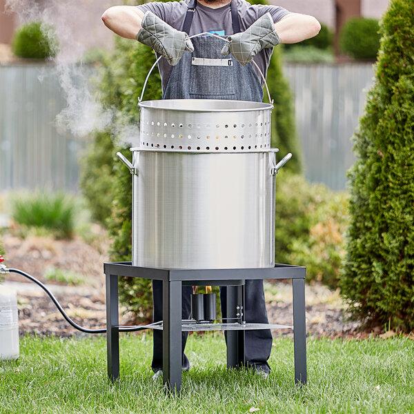 Backyard Pro 100 Qt. Aluminum Outdoor Seafood Boiler / Steamer Kit - 110,000 BTU Main Image 3
