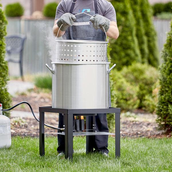 Backyard Pro 80 Qt. Aluminum Outdoor Seafood Boiler / Steamer Kit - 110,000 BTU Main Image 3