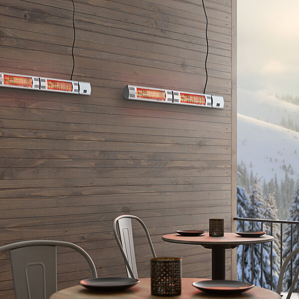 Backyard Pro Courtyard Series Silver Double Tube Electric Outdoor Patio Heater - 220-240V, 3000W Main Image 4