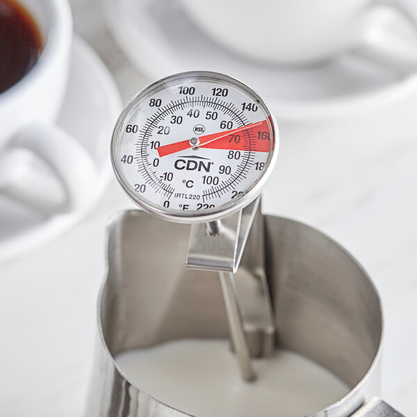 "CDN IRTL220 ProAccurate Insta-Read 7"" Hot Beverage and Frothing Thermometer - 0 to 220 Degrees Fahrenheit Main Image 3"