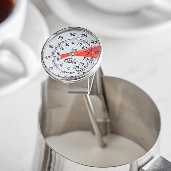 """CDN IRB220-F-6.5 ProAccurate Insta-Read 6 1/2"""" Hot Beverage and Frothing Thermometer - 0 to 220 Degrees Fahrenheit Main Image 2"""