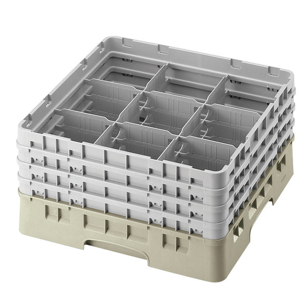 "Cambro 9S1114184 Beige Camrack Customizable 9 Compartment 11 3/4"" Glass Rack"