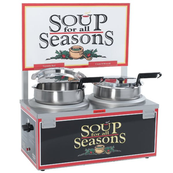 Nemco 6510A-2D7 Double Well 7 Qt. Soup Warmer with Header - 120V, 1100W