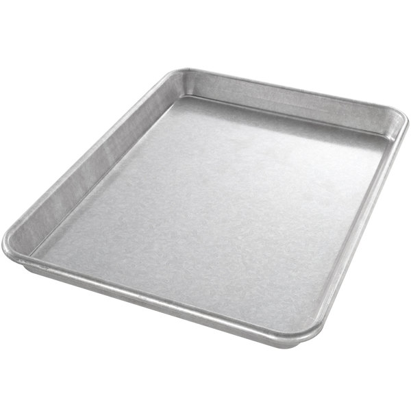 "Chicago Metallic 20900 22 Gauge Glazed 9"" x 12 1/2"" Wire in Rim Aluminized Steel Jelly Roll Pan Main Image 1"