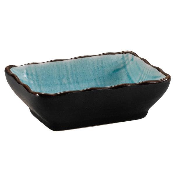 "CAC 666-32-BLU Japanese Style 3 1/4"" x 2 1/2"" China Sauce Dish - Black Non-Glare Glaze / Lake Water Blue - 48/Case Main Image 1"