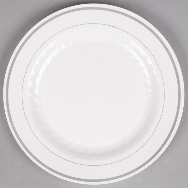 "WNA Comet MP9WSLVR 9"" White Masterpiece Plastic Plate with Silver Accent Bands - 12/Pack"