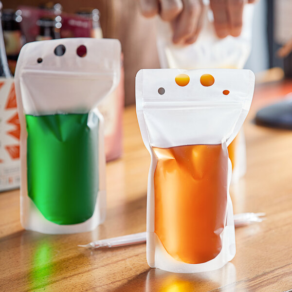 Choice 16 oz. Clear Plastic Single Zipper Drink Pouch - 1000/Case Main Image 2