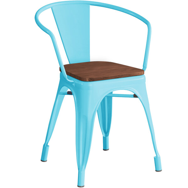 Lancaster Table & Seating Alloy Series Arctic Blue Metal Indoor Industrial Cafe Arm Chair with Vertical Slat Back and Walnut Wood Seat Main Image 1
