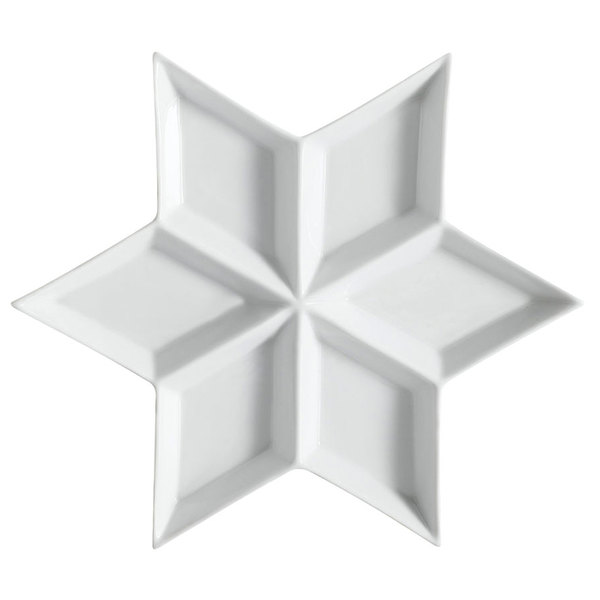 """CAC CMP-6 12"""" Bright White Porcelain Star-Shaped 6 Compartment Tasting Tray - 12/Case Main Image 1"""
