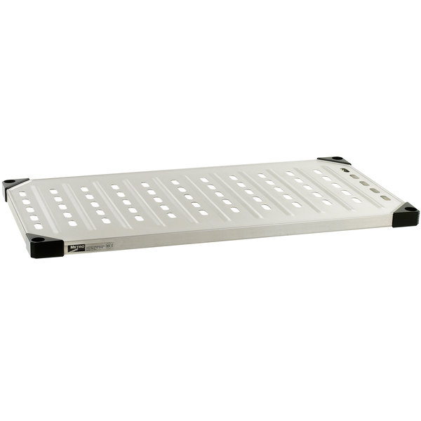 """Metro 1842LS 18"""" x 42"""" Louvered / Embossed Stainless Steel Solid Shelf"""
