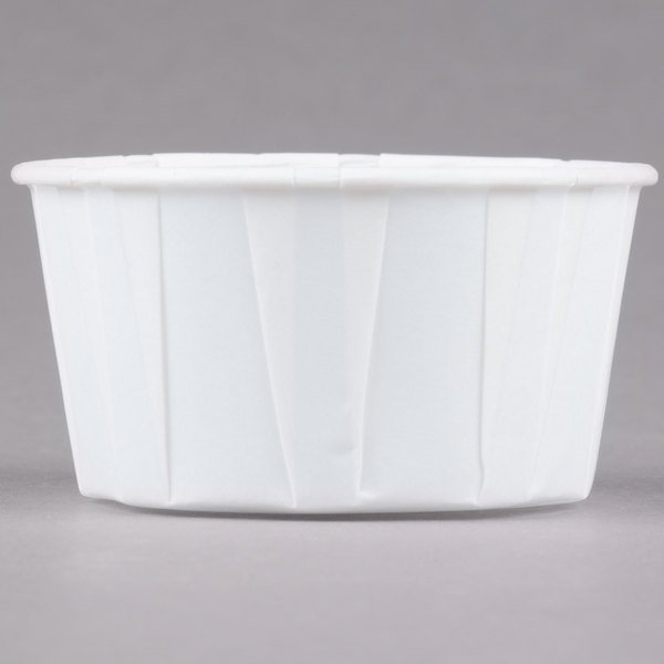 W400F Paper Compostable 4 oz White Paper Souffle Drinking Cup 500 ct
