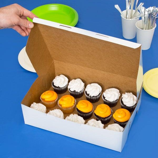 "14"" x 10"" x 4"" White Cake / Bakery Box - 10/Pack"