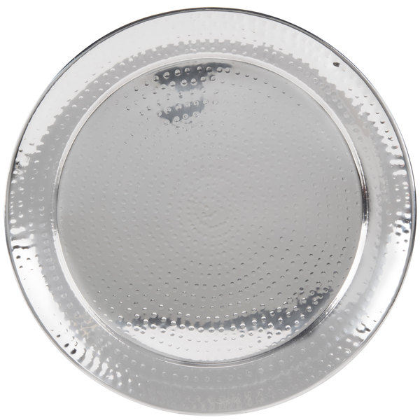 "American Metalcraft HMRST1801 18 1/2"" Round Hammered Stainless Steel Tray"